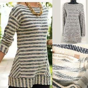 Soft Surroundings L beige striped tunic sweater